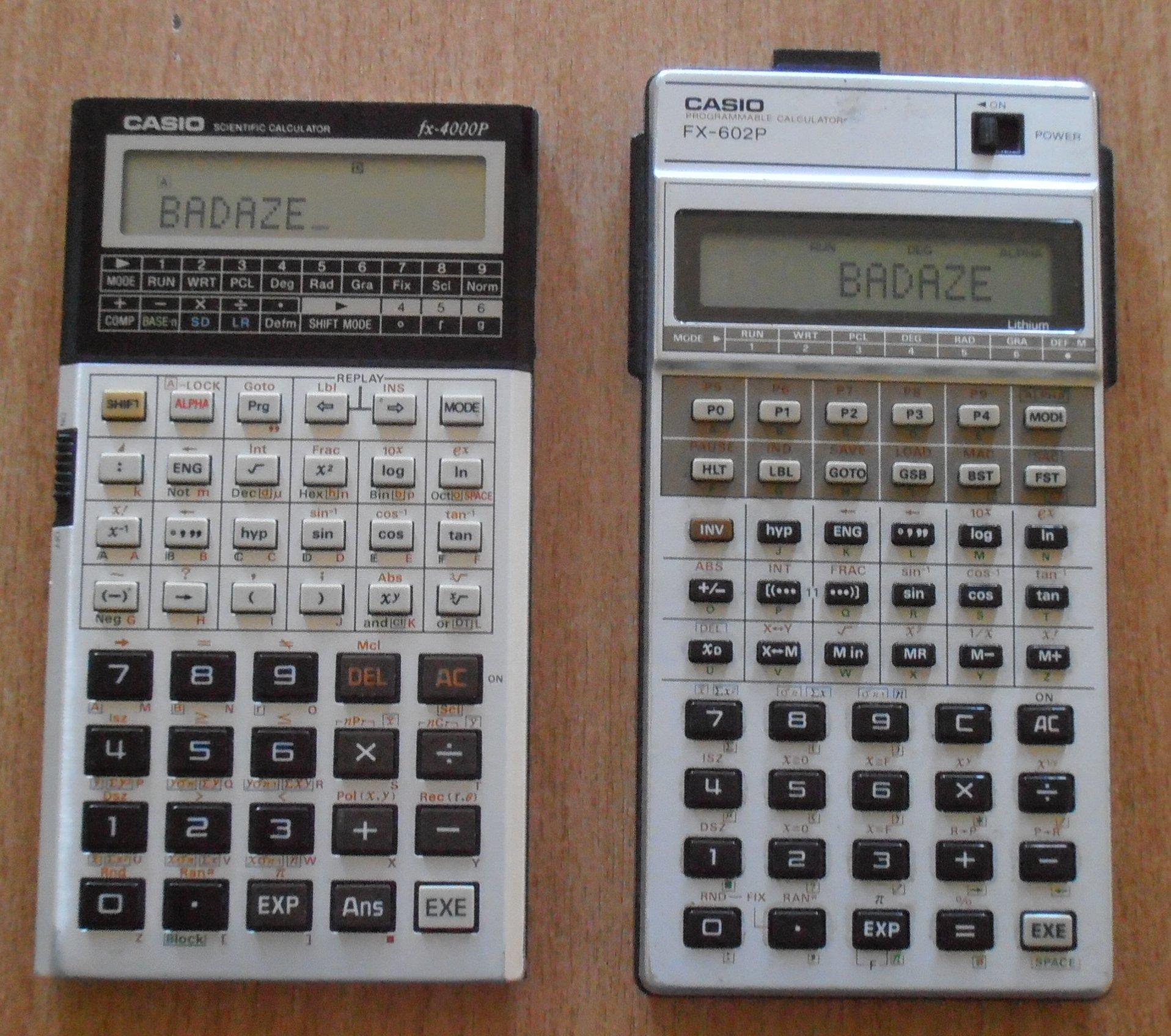 Casio FX-4000P et Casio FX-602P