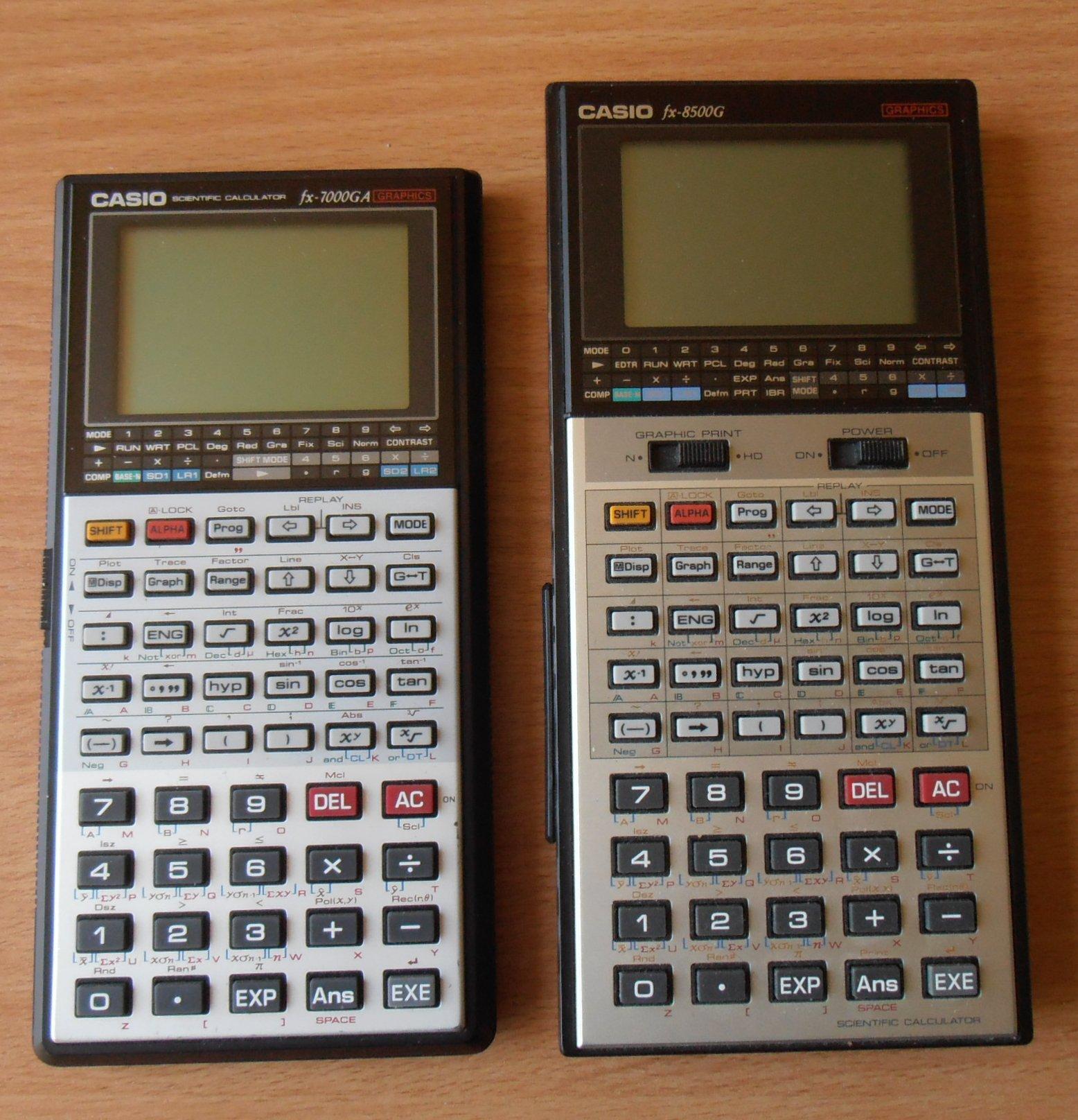 Casio FX-7000 GA et FX-8500 G