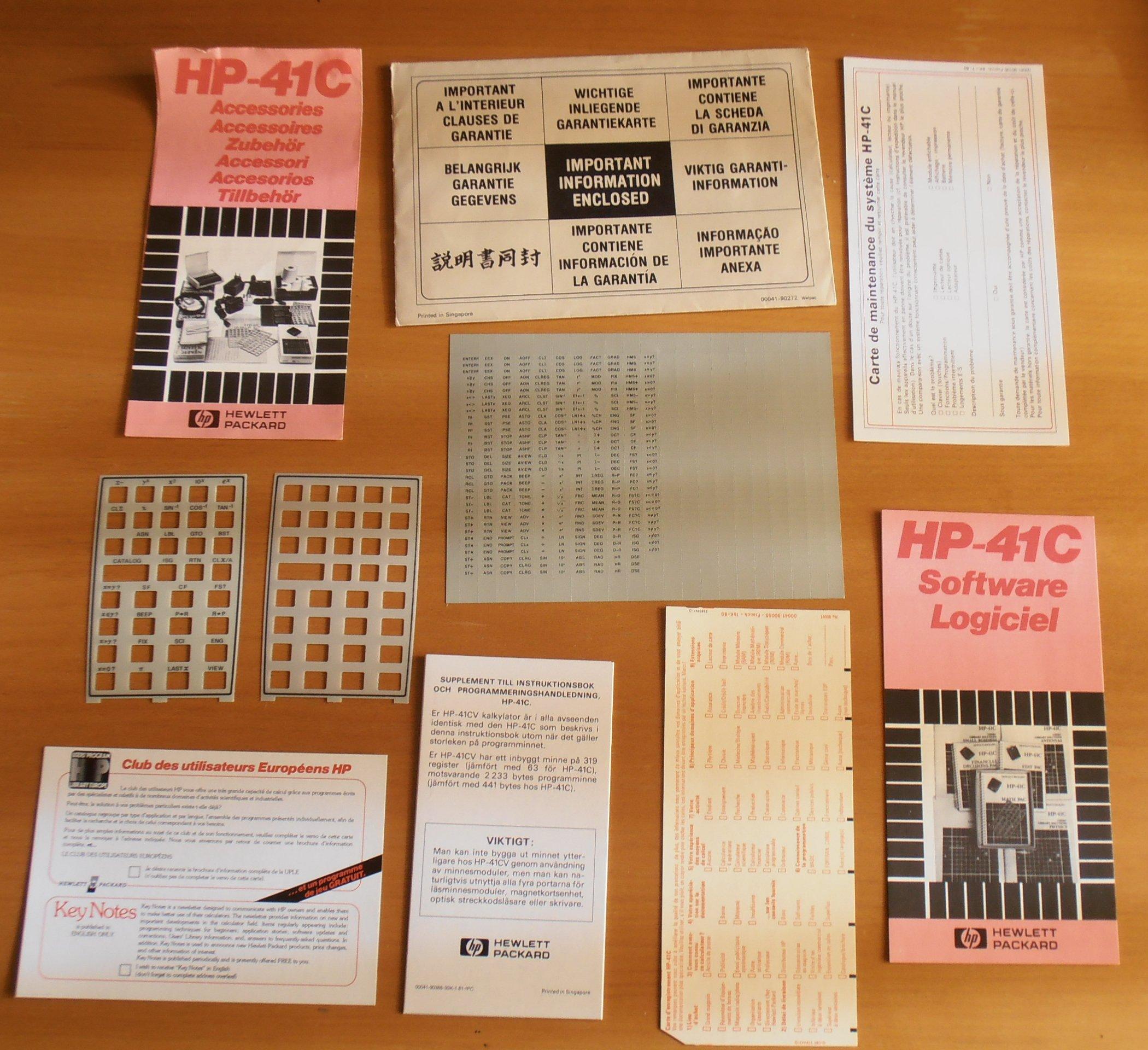 HP 41CV équipement