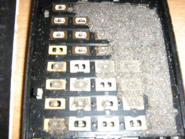 TI 57 - clavier vu de l'intérieur