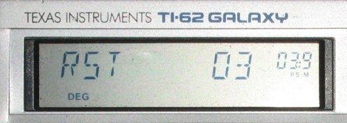 Affichage TI 62 Galaxy