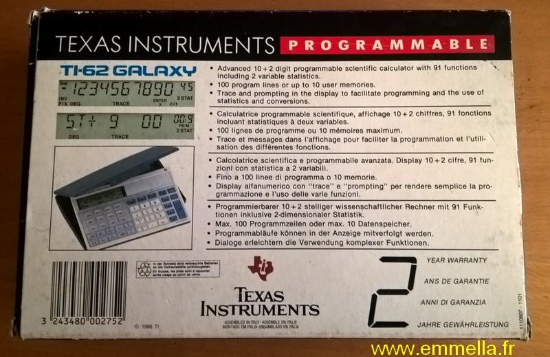 Boîte TI 62 Galaxy