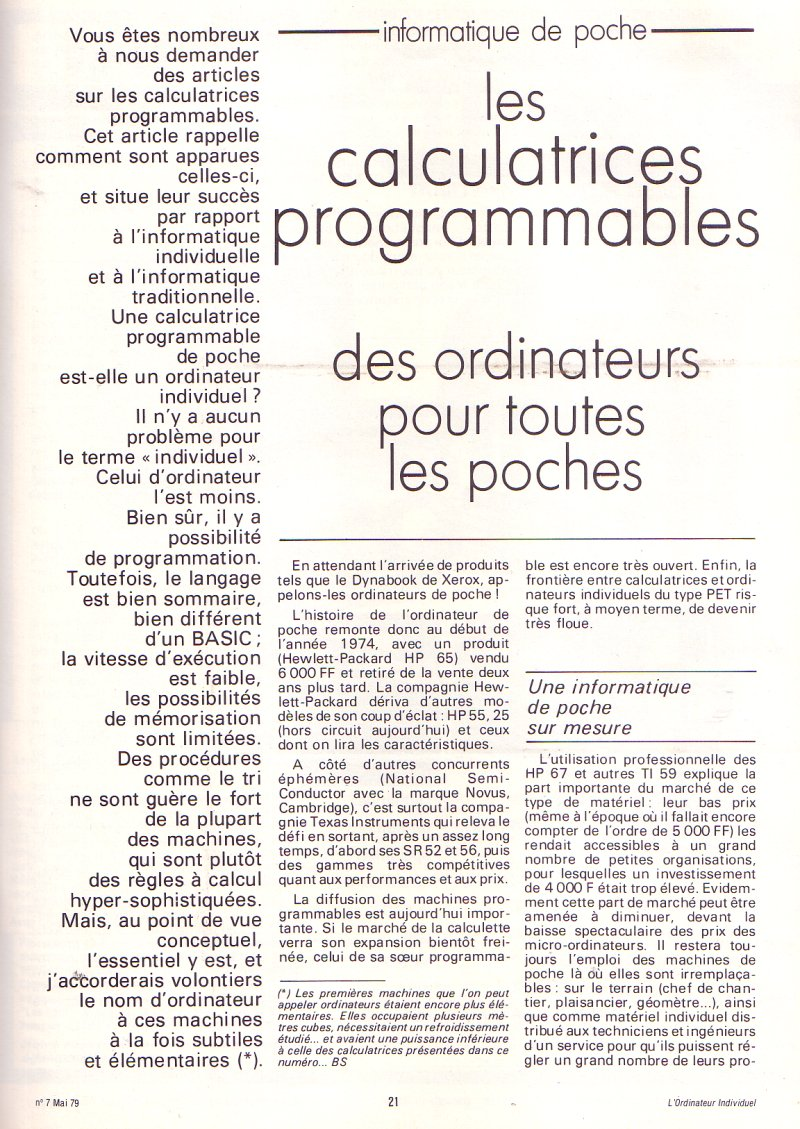 Les calculatrices programmables