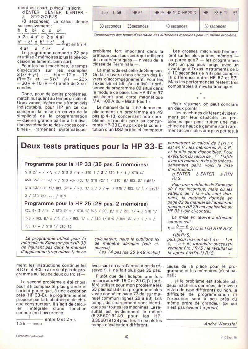 Informatique de poche - Comparaison sur deux tests pratiques