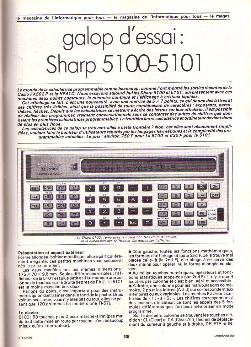 Galop d'essai - Sharp 5100-5101