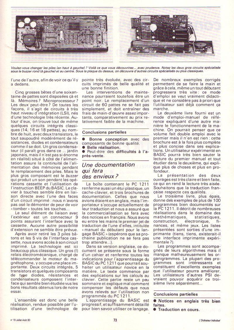 Le Sharp PC 1211 au banc d'essai