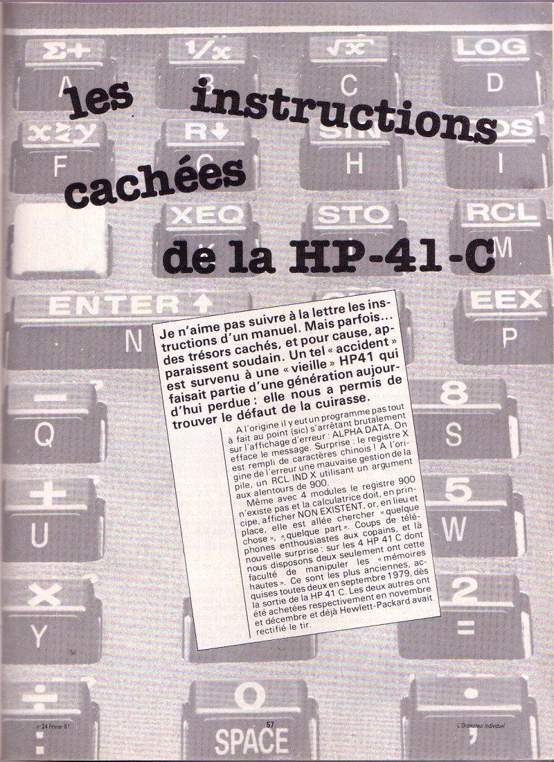 Les instructions cachées de la HP 41C - épisode 1