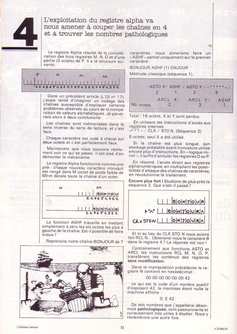 Les instructions cachées de la HP 41C - épisode 2