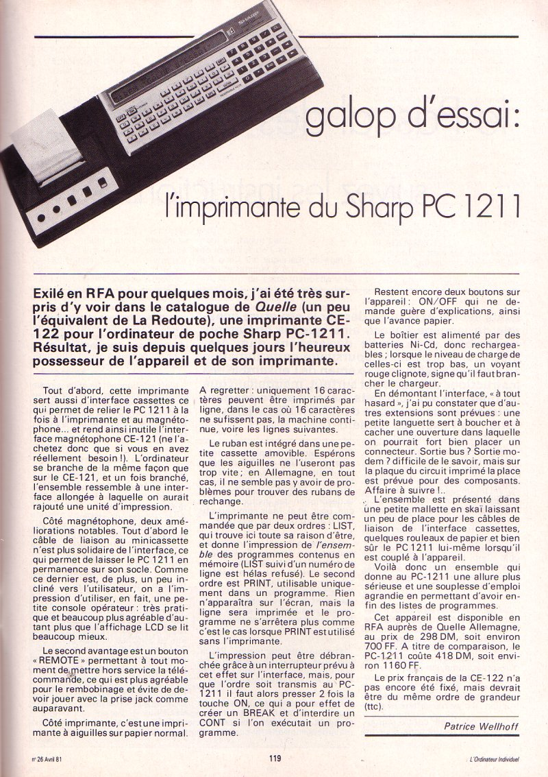 Galop d'essai : L'imprimante du Sharp PC 1211