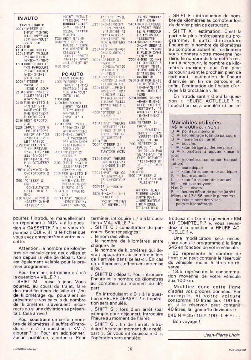 Roulez petits bolides (Sharp PC 1211)