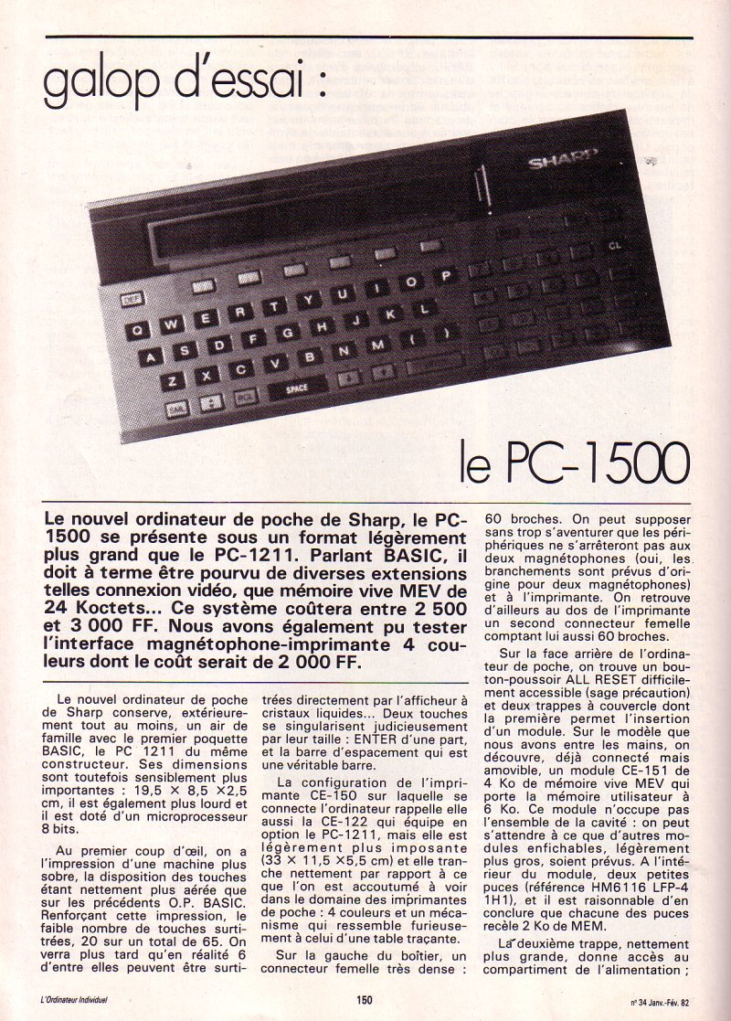 Galop d'essai - le Sharp PC 1500