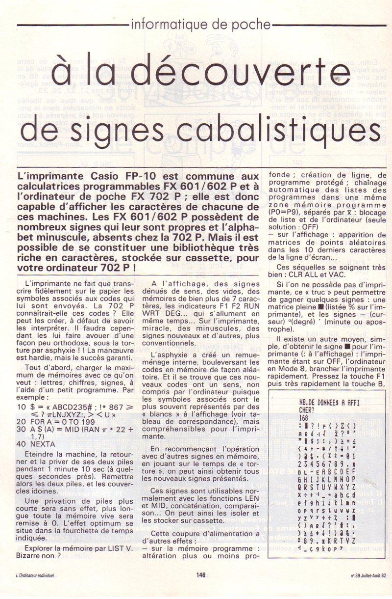 Casio FP-10 : à la découverte de signes cabalistiques
