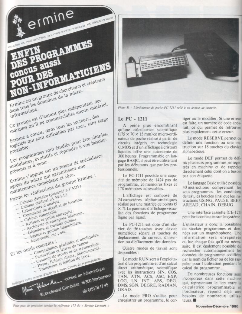 Micro-Systèmes n°14 - Présentation Sharp PC-1211