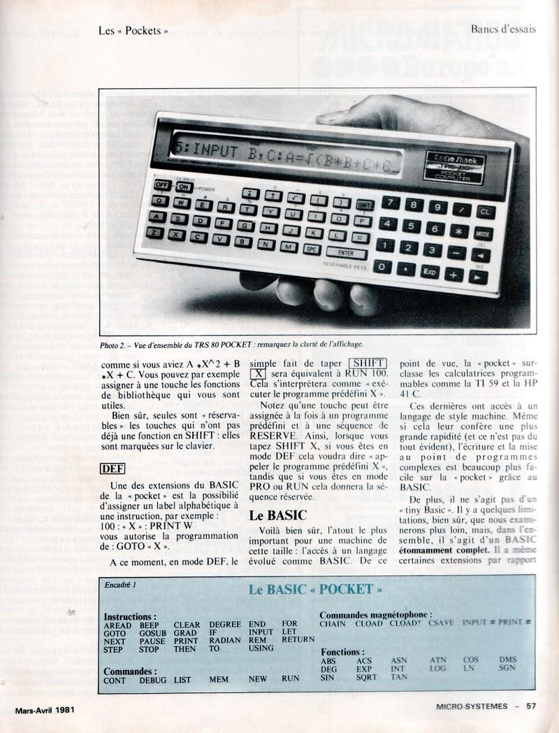 Banc d'essai du TRS 80 POCKET et SHARP PC 1211