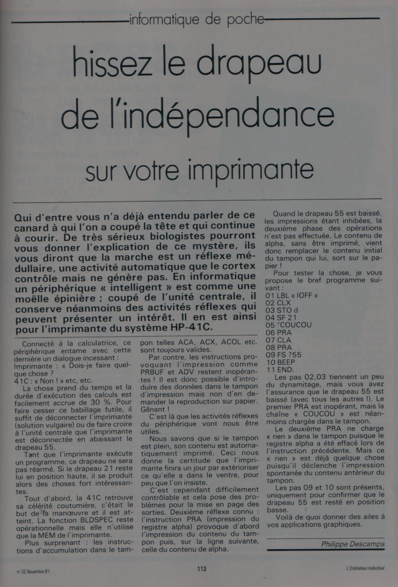 Hissez le drapeau de l'indépendance (HP 41)