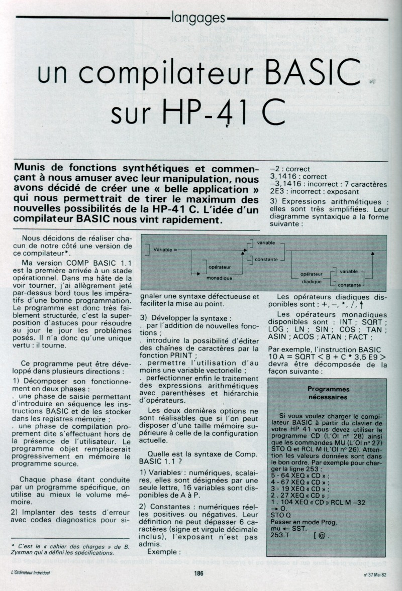 Un compilateur Basic sur HP 41C
