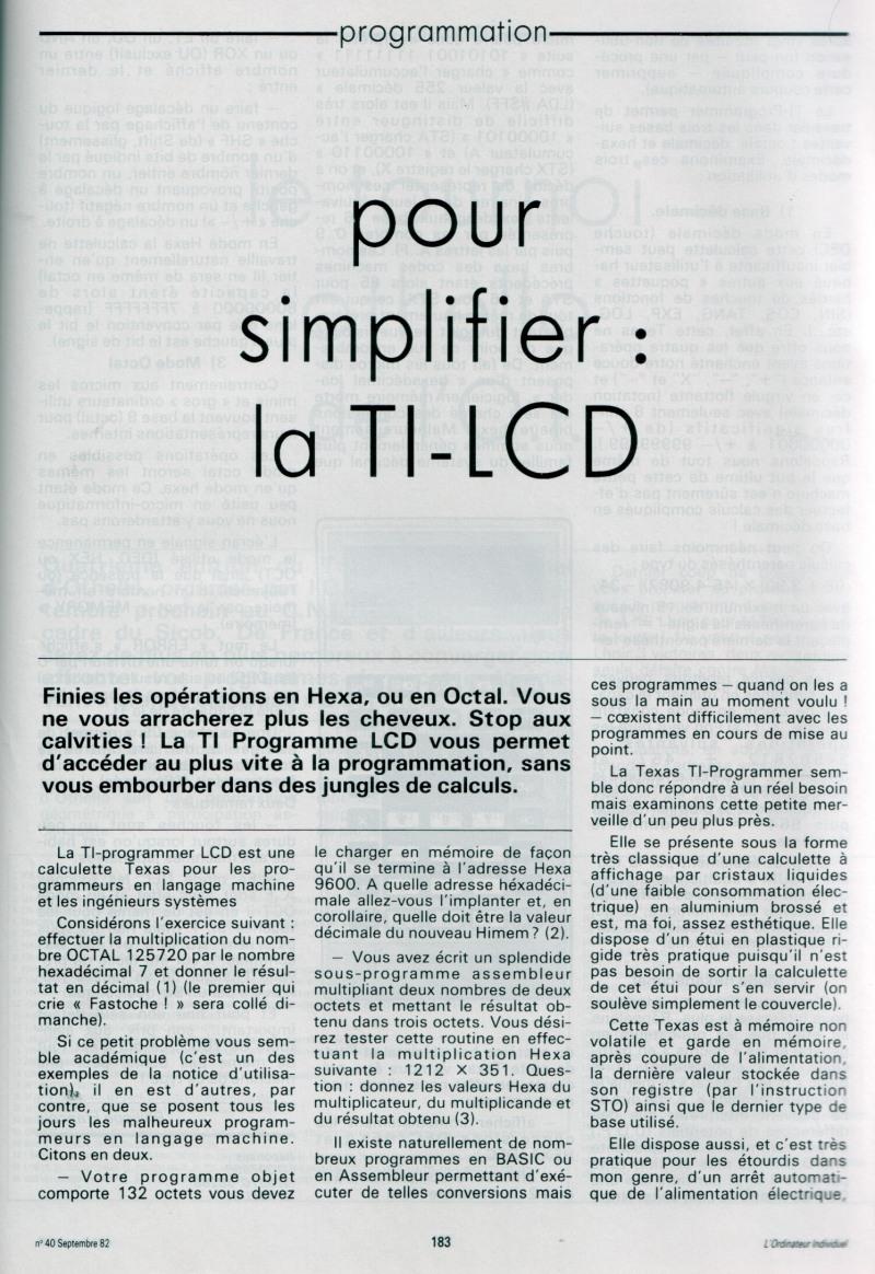 Pour simplifier la TI LCD Programmer