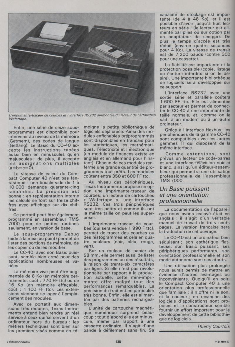 Essai du CC-40 portable de Texas Instruments