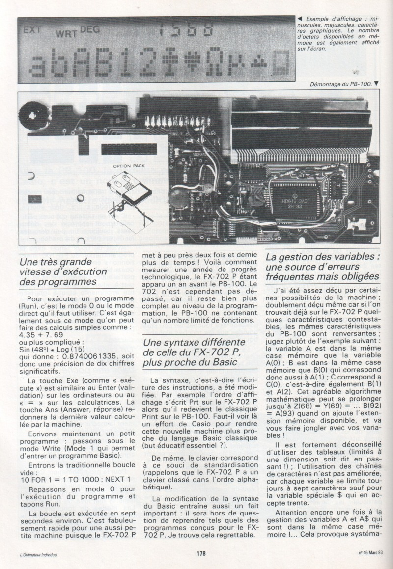 PB-100 - la petite dernière de Casio