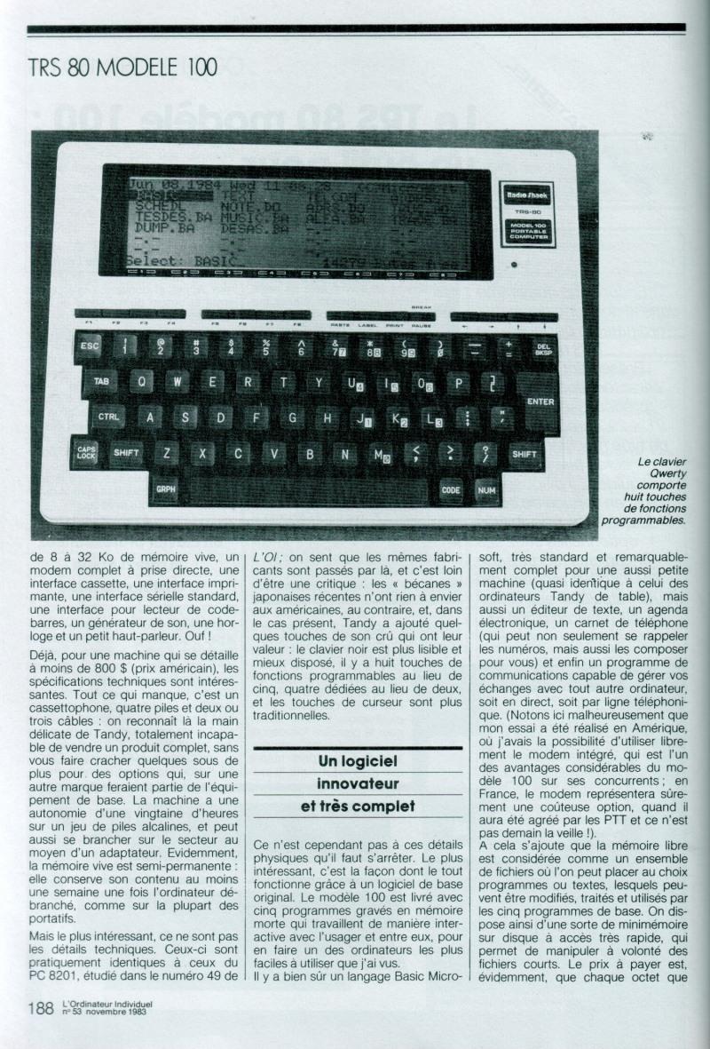 Le TRS 80 modèle 100 : un outil pour tous les jours